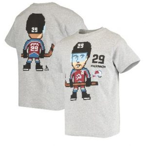 Youth Colorado Avalanche Nathan MacKinnon Heathered Gray Pixel Player T-Shirt