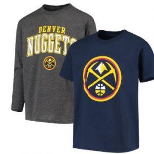 Youth Denver Nuggets Fanatics Branded Navy/Gray Square T-Shirt Combo Set